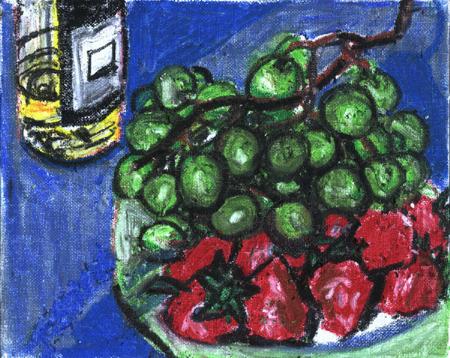 Strawberries ad grapes